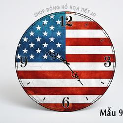 Đồng hồ treo tường họa tiết cờ Mỹ