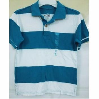 Áo Polo bé trai Children Place sọc ngang xanh trắng - Size 7-8