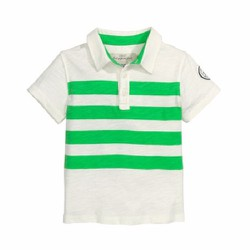 Áo Polo bé trai HM màu trắng sọc xanh lá cây - Size 8-10