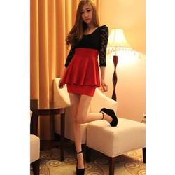 Đầm nữ dài tay, kiểu dáng thời trang, thiết kế phối ren độc đáo-D2856