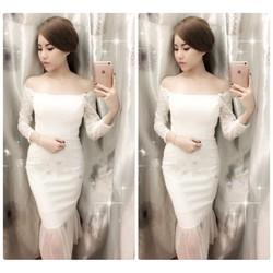 Đầm body trể vai đuôi tôm