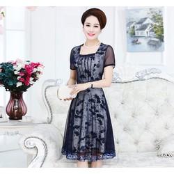 đầm trung niên hoa cao cấp DRESS568