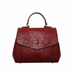 Túi xách nữ da bò thật vân cá sấu cao cấp màu đỏ đô ETM574