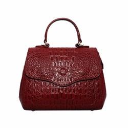 Túi xách nữ da bò thật vân cá sấu cao cấp ELMI màu đỏ đô ETM668