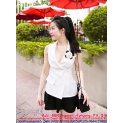 Sét áo công sở cổ V màu trắng trẻ trung va chân váy xòe SEV174