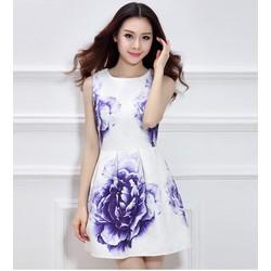 Đầm xòe nữ không tay họa tiết in hoa nổi bật, mẫu thanh lịch-D2977