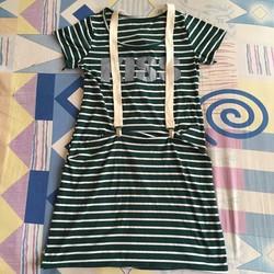 Đầm thun xanh rêu sọc ngang trắng