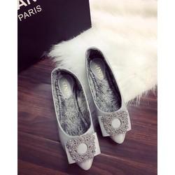 Giày búp bê đính đá tròn đế lông êm chân hàng qc - G02758-59