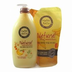 Combo lọ sữa tắm và túi refill Happy Bath Natural 750g- okiiu