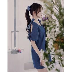 Đầm jean suông dạo phố tay cut out thắt nơ xinh xắn BY6102
