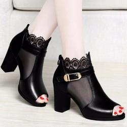 Giày boot phối ren hoa nữ tính