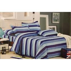 Drap và ga trải giường giá rẻ đẹp bởi họa tiết kẻ sọc màu xanh TL72