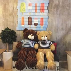 Gấu bông teddy màu kem khổ 1m6
