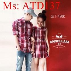 Sét đồ đôi áo sơ mi và đầm suông sọc màu caro thời trang ATD137