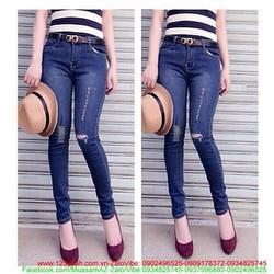Quần jean nữ lưng cao rách bụi phong cách tự tin zQJE140