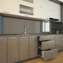 Tủ bếp Acrylic chữ I cho chung cư diện tích lớn