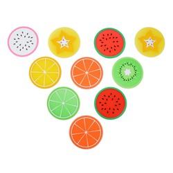 Combo 10 miếng lót ly hình trái cây nhựa dẻo xinh xắn