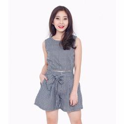 Set áo crop top phối quần short - Caro Trắng Đen