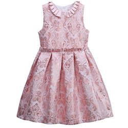Váy hồng trang trí họa tiết hoa văn chìm cho bé từ 3-6 tuổi