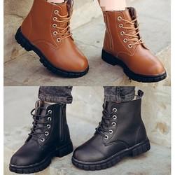 Giày trẻ em combat boot da trơn còn nâu