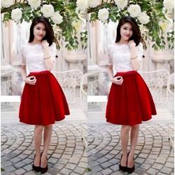 Set áo ren chân váy nhung phối nơ đỏ