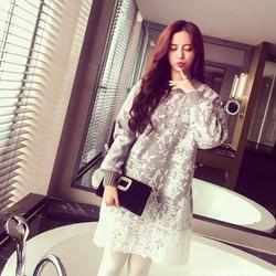 Váy Hoa Len Ren Xám