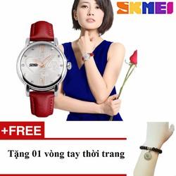 Đồng hồ cao cấp Nữ SKMEI SK061 đỏ tặng vòng tay trị giá 200k