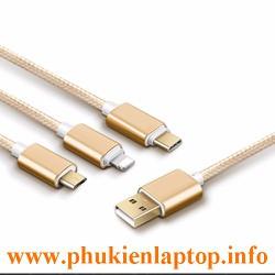 CÁP SẠC 3 ĐẦU MICRO-IPHONE 5-6-USB TYPE C DÂY DÙ RẤT CHẮC CHẮN