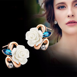 bông tai hoa hồng đính đá thời trang Hàn Quốc HKE-E878