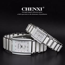 đồng hồ đá trắng,đen viền bạc mạt chữ nhật dành cho nữ - 313