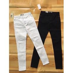 Quần jeans kaki rách gối