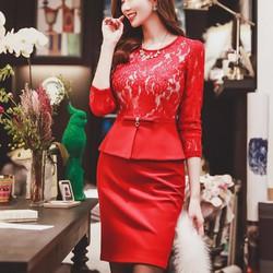 Đầm Công Sở Phối Ren Peplum