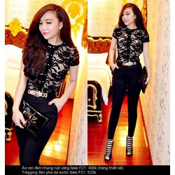 Set nguyên bộ áo ren đen quần đen pha sườn giống bella ko kèm belt