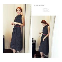 Đầm Vintage Chấm Bi Cổ Trụ VD294