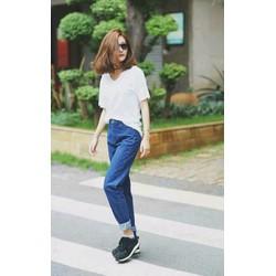 quần baggy jean nữ xanh đậm