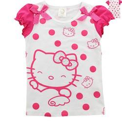 Áo thun hoạt hình kitty nơ hồng xinh xắn