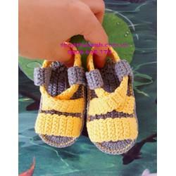 Giày len Handmade có lót đế size 3 tháng đến 6 tháng