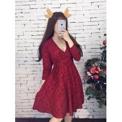 Đầm xoè đỏ đắp chéo cột eo