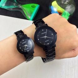 đồng hồ đôi WILON dây thép đen