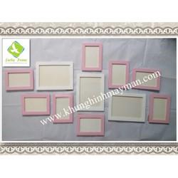 Bộ 11 khung ảnh gỗ treo tường màu hồng trắng