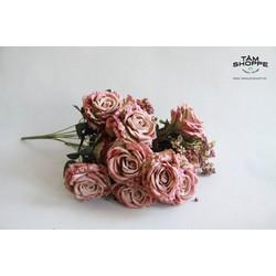 Cành hoa hồng lụa Vintage