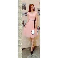 Đầm hồng phối ren cao cấp kèm dây đeo