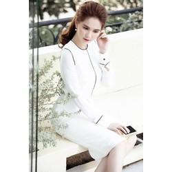 Đầm trắng viền đenthiết kế ôm body tay dài Ngọc Trinh M31145T