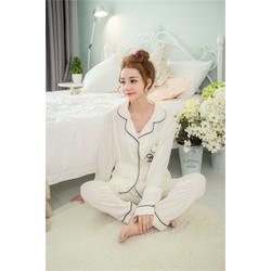 [Hàng nhập] Set pijama thun thêu hình túi