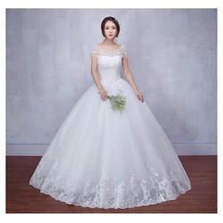 Váy cưới công chúa, chân ren sang trọng, bẹt vai