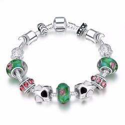vòng tay nữ thời trang hạt cườm phong thuỷ xanh ngọc sành điệu PDRH018