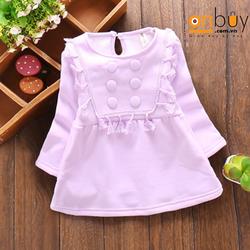 CNC030C Váy Cá Tính Thời Trang Cotton Màu Tím Cho Bé Gái