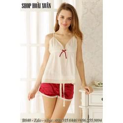 Bộ đồ ngủ nữ phi lụa pha ren chất siêu đẹp hàng xuất khẩu - B840