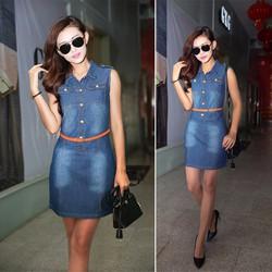 Đầm Jean Form Suông Cổ Trụ