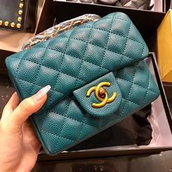 Túi Xách .Chanel. Classic Da Caviar Size 18 Khóa Đồng .Super. Sale